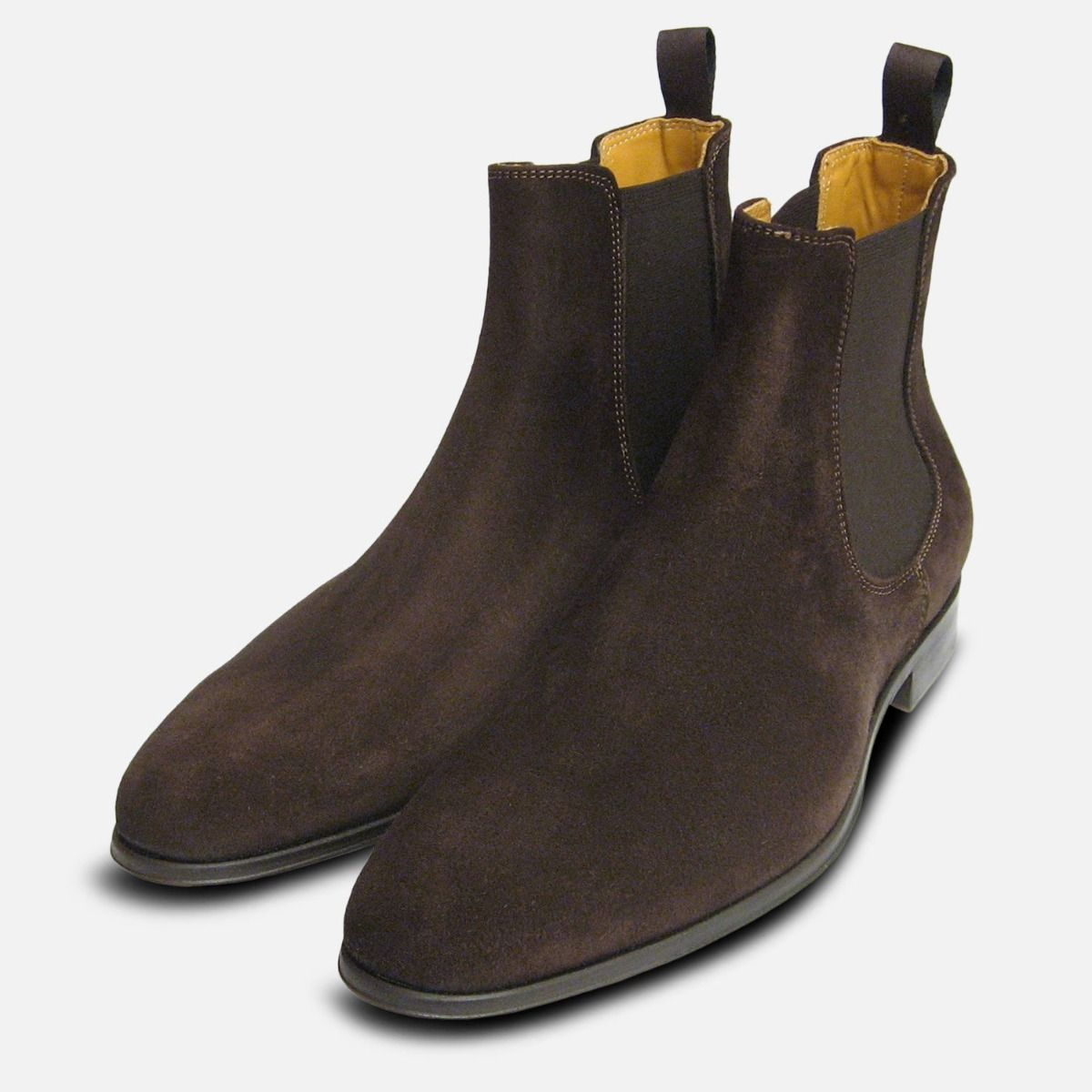 56f798cf78e Brown Suede Italian Chelsea Boots for Men