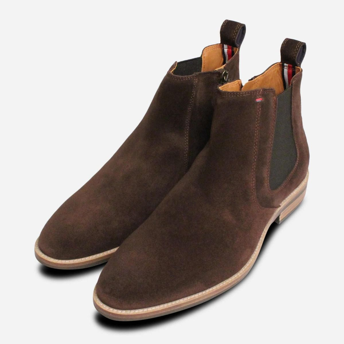 9f03db70b Tommy Hilfiger Brown Suede Chelsea Zip Boots for Men