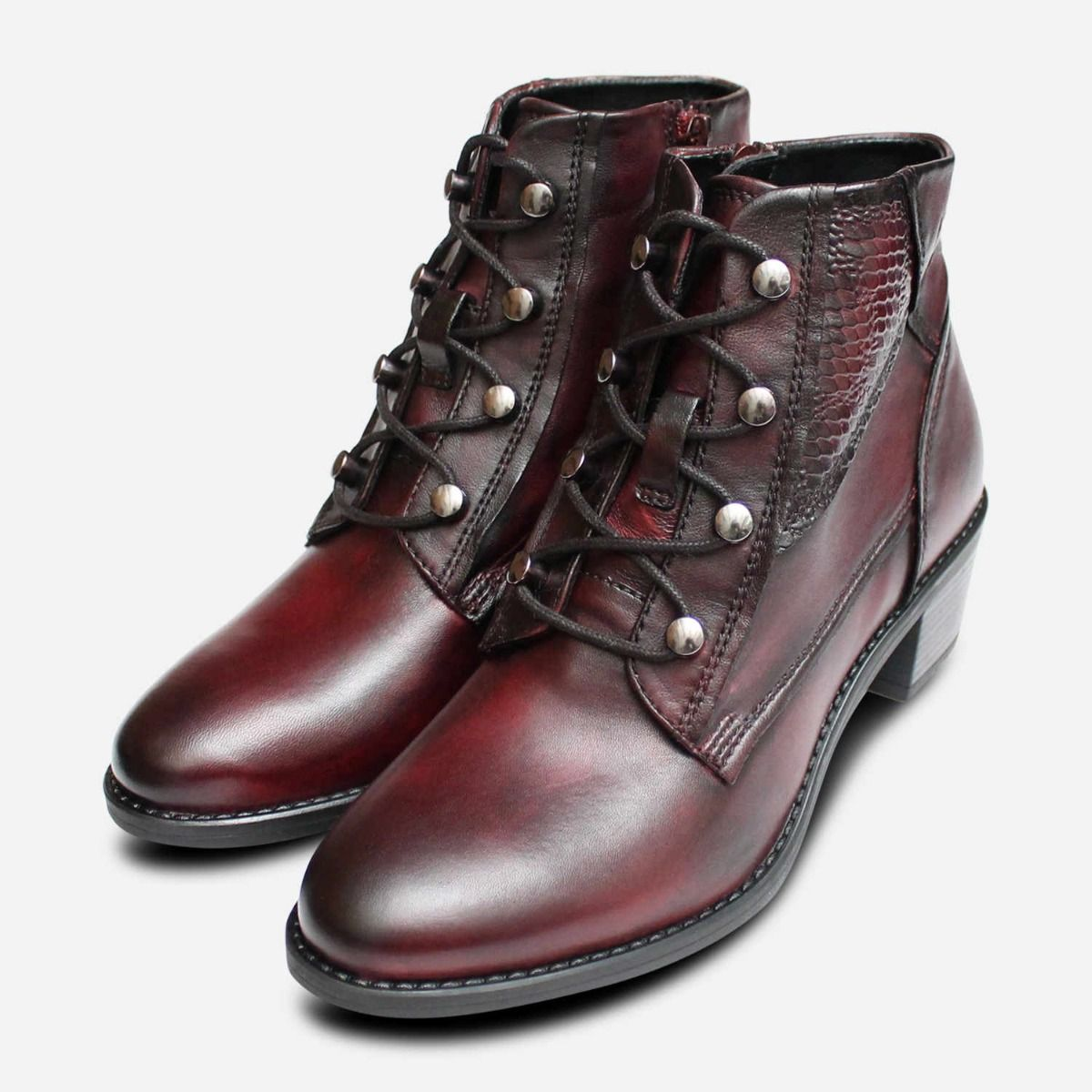 save off various design closer at Bugatti Dark Burgundy Leather Womens Ankle Zip Boots