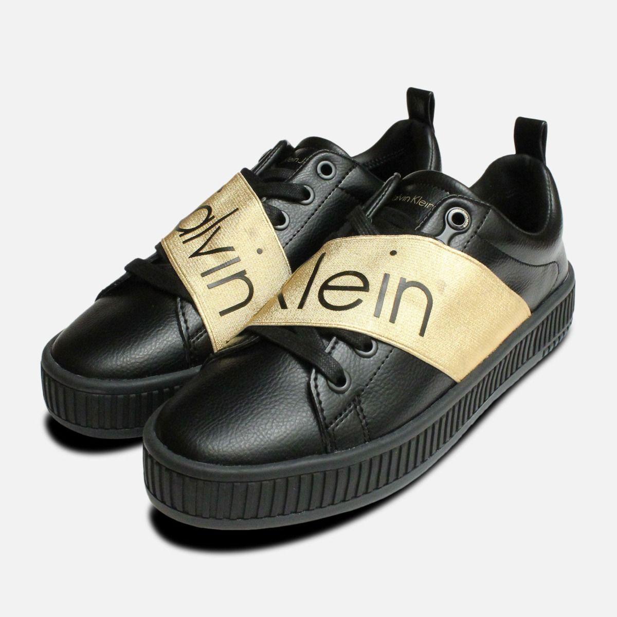 58fad8b6b6e6 Exclusive Gold   Black Calvin Klein Antonia Shoes