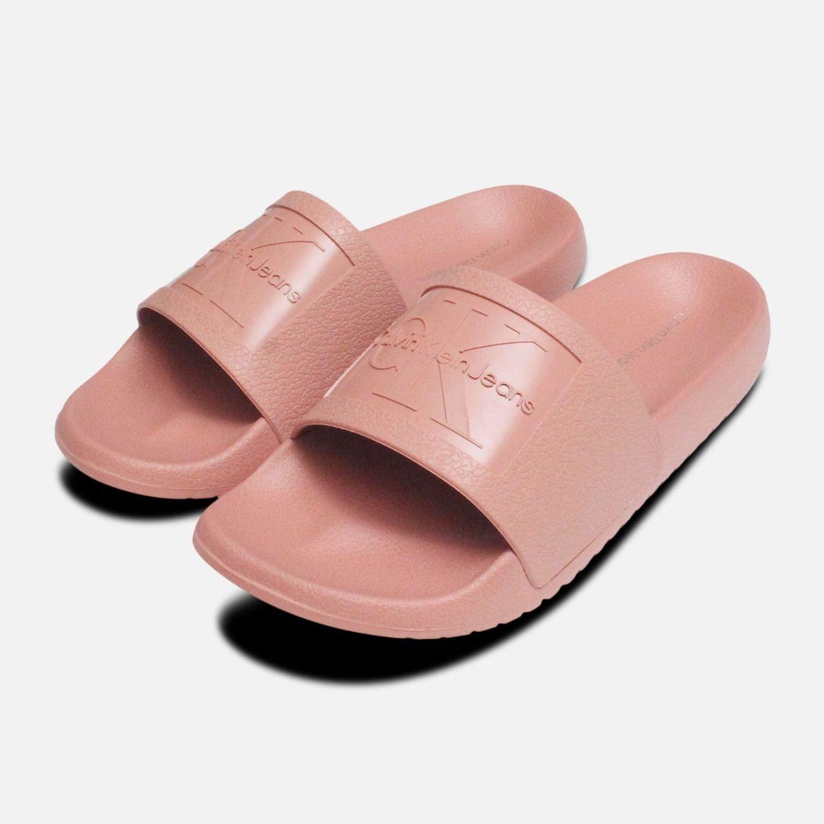 88c11cfe52a9 Dusk Pink Jelly Calvin Klein Sandals Christie Slide