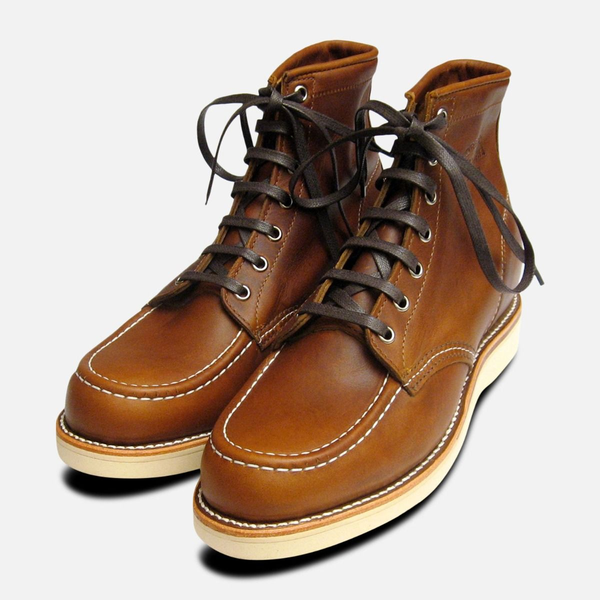 a8ac7f7977e Chippewa Shoes Tan Renegade Leather 1901M22 Vibram Sole Moc Toe Boots