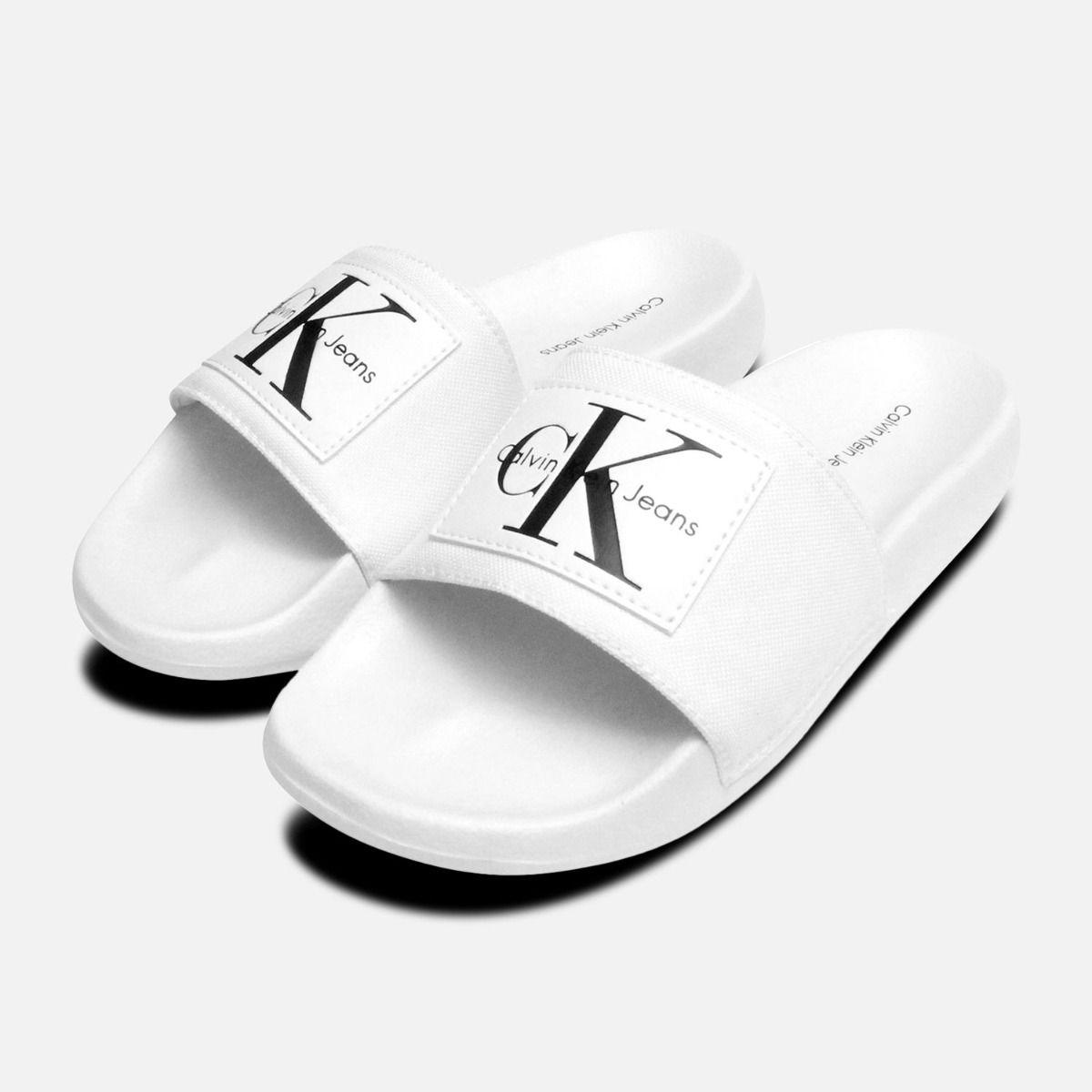 1b4c0f0a942d White Calvin Klein Ladies Chloe Nylon Sliders
