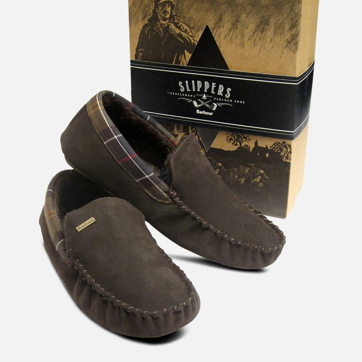 dirt cheap amazon factory price Barbour Mens Dark Brown Suede Monty Fur Slippers