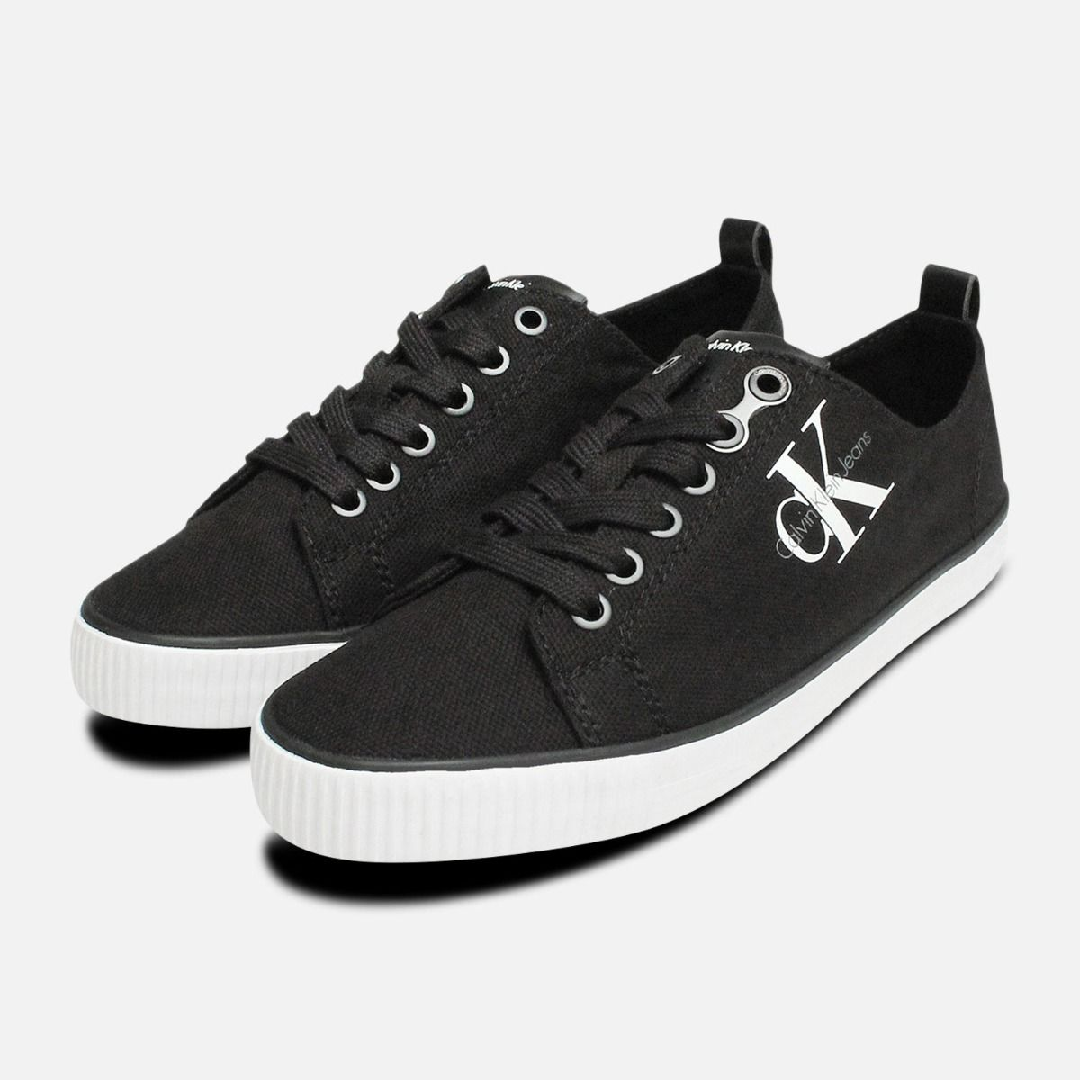 Black Dora Canvas Sneakers By Calvin Klein Jeans Calvin Klein Dora Canvas Trainers Shoes