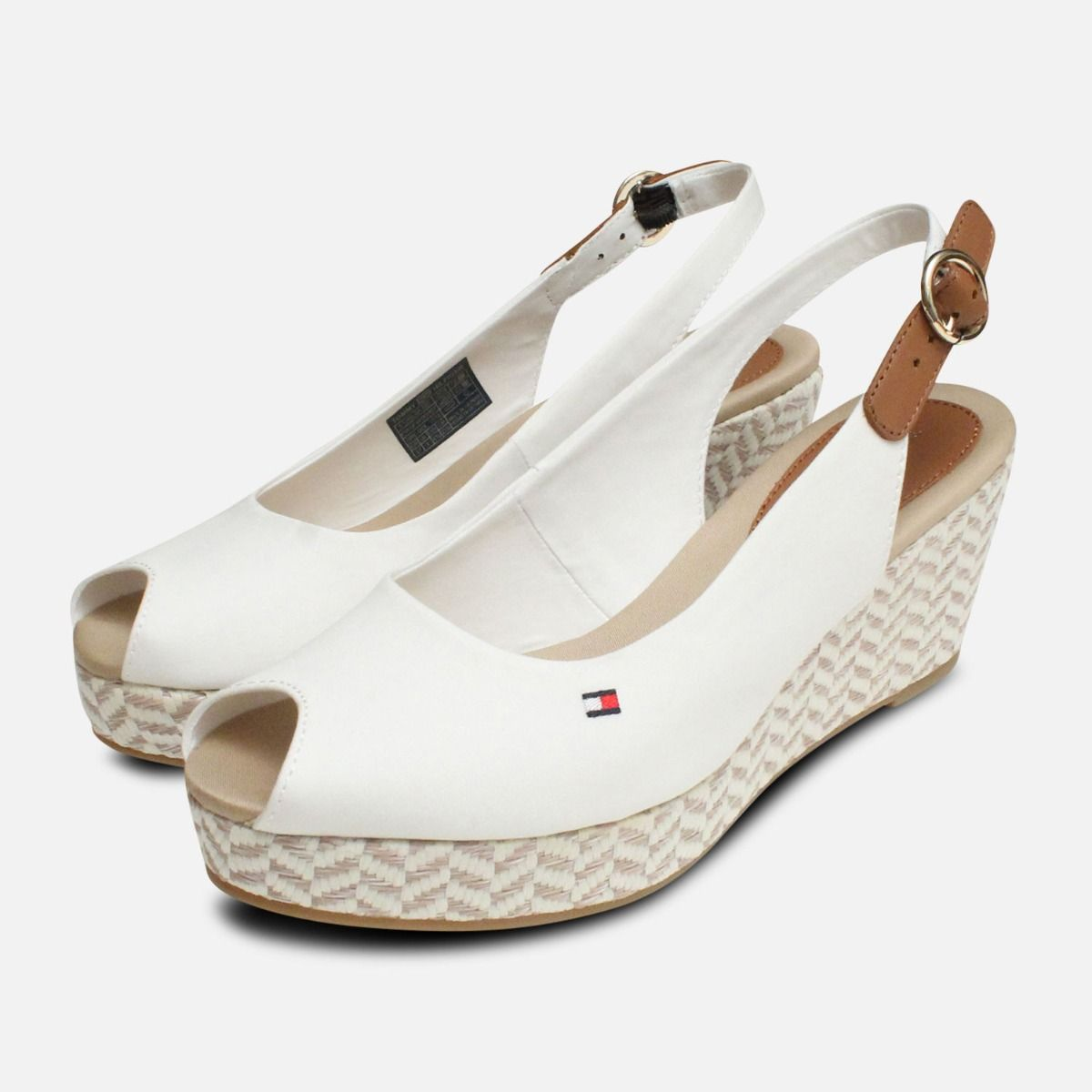 e2a4944a784 Tommy Hilfiger Womens Elba White Wedge Sandals