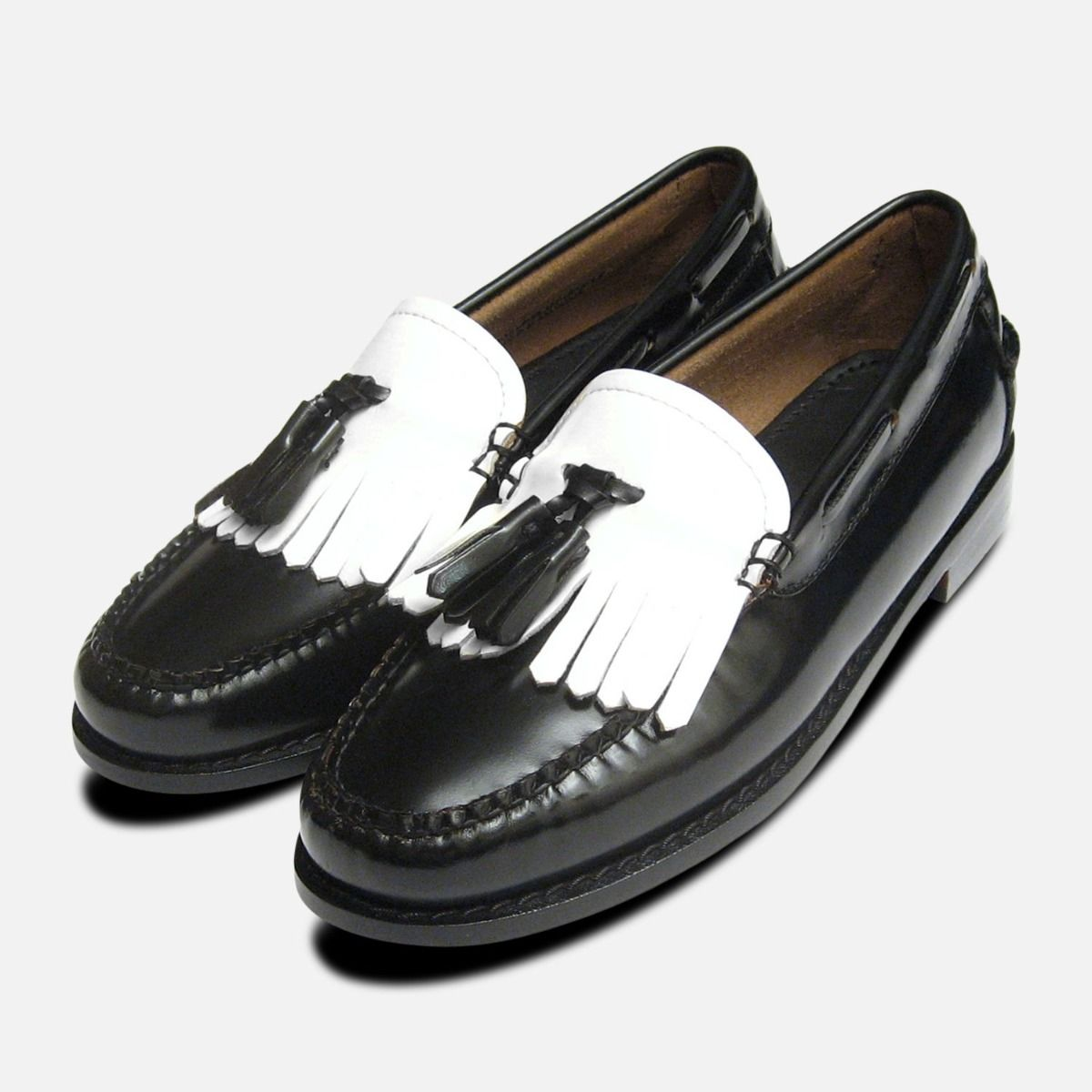 Ladies two tone black white tassel loafers