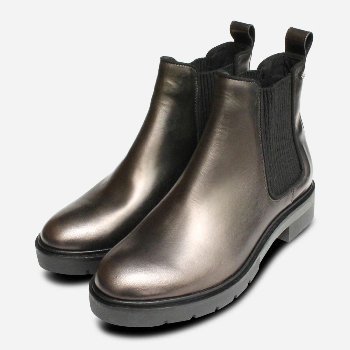 ac2ca72c Metallic Grey Tommy Hilfiger Womens Ankle Boots