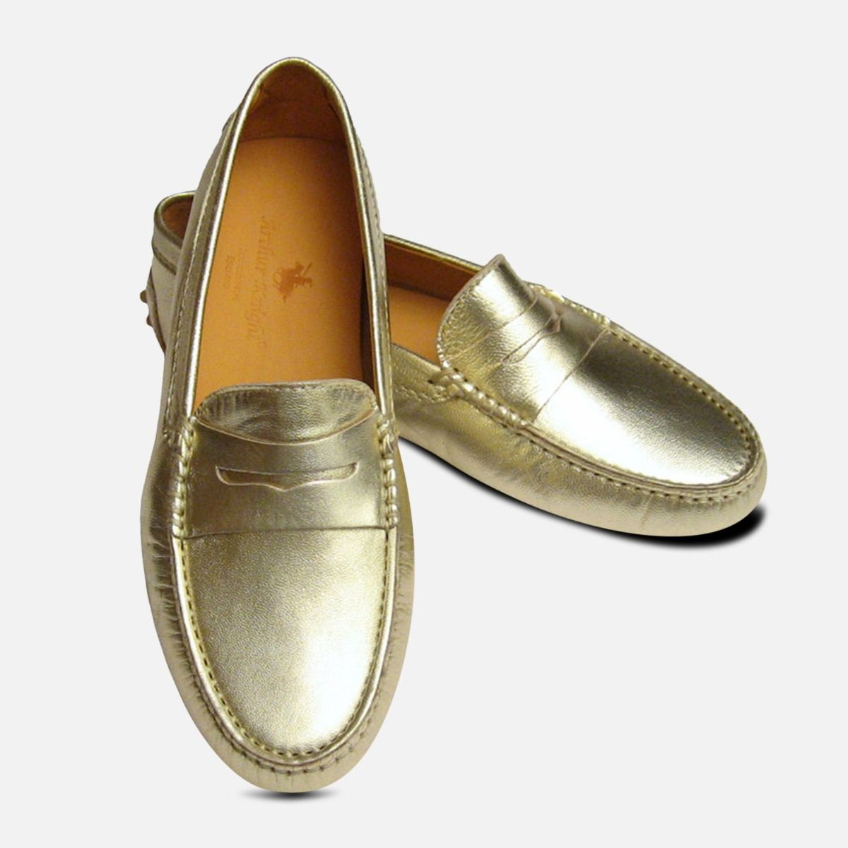 6fd08ed7921 Gold Metallic Leather Arthur Knight Womens Driving Shoes