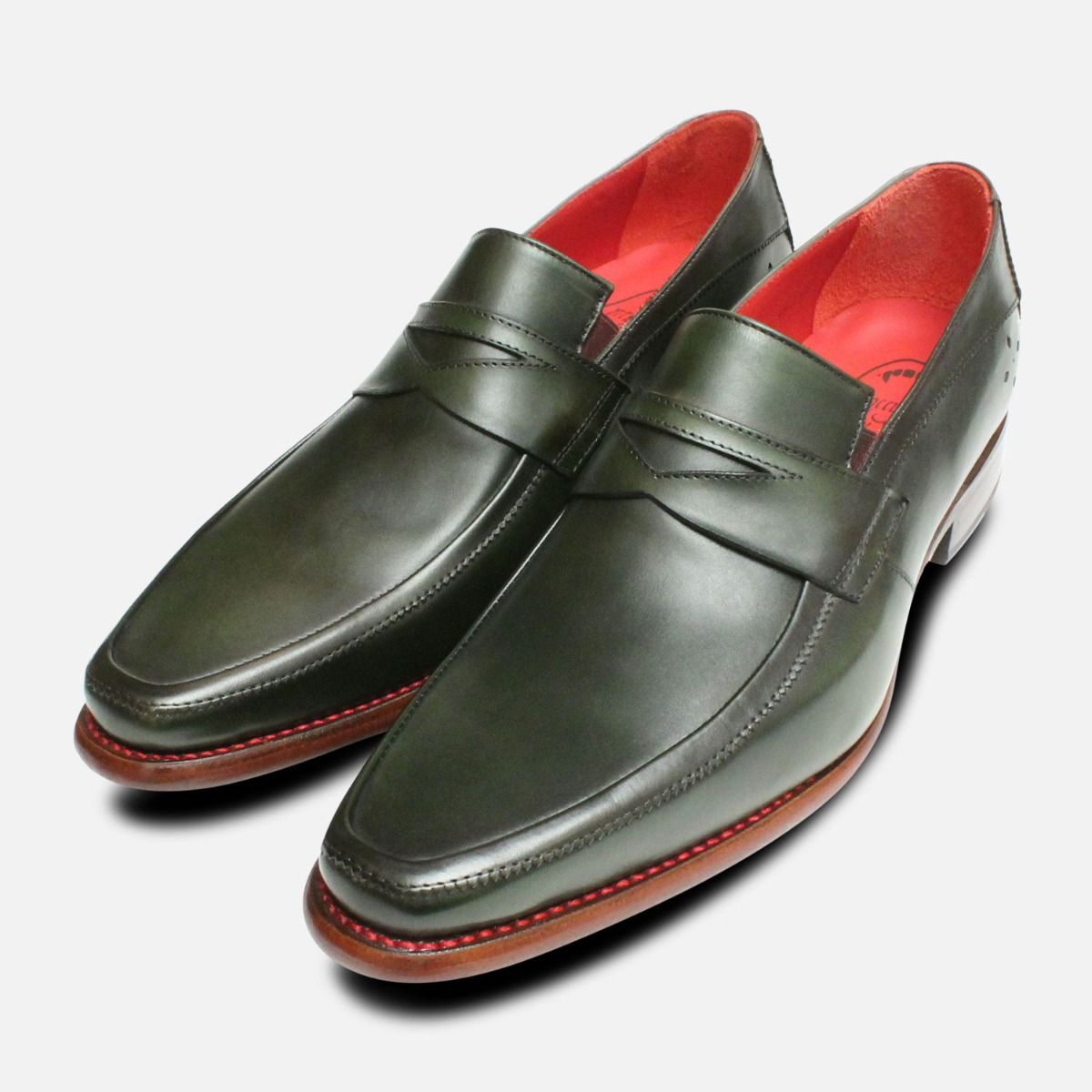 3a08715c850 Dark Green Jeffery West Mens Goodyear Welted Loafer Shoes