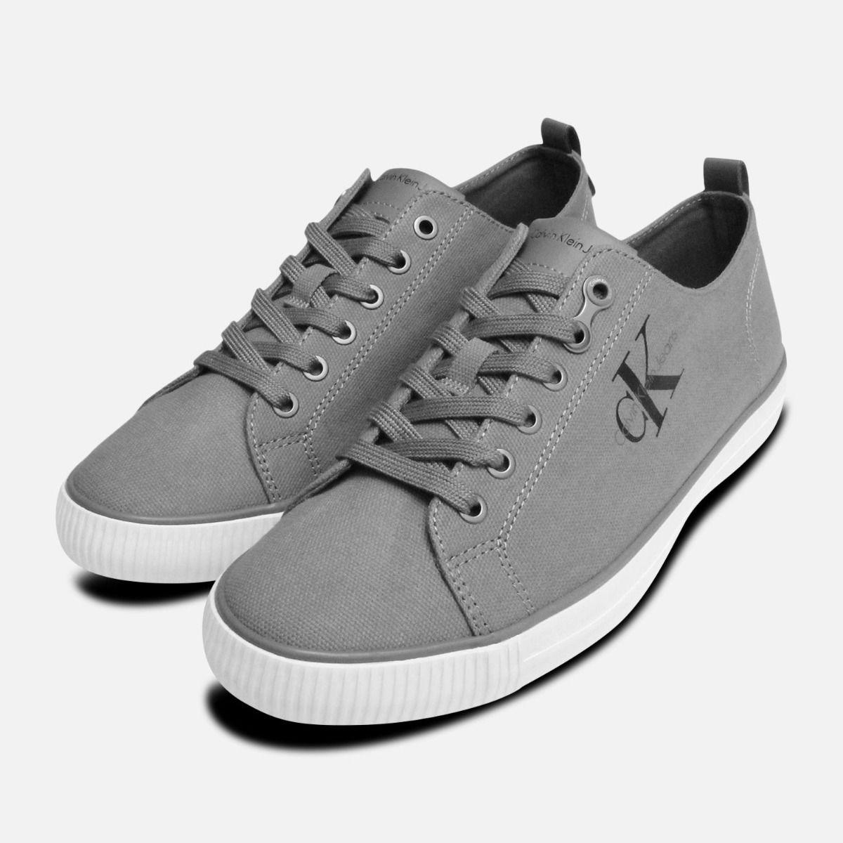 ed8b97e348a Grey Canvas Calvin Klein Arnold Mens Sneakers