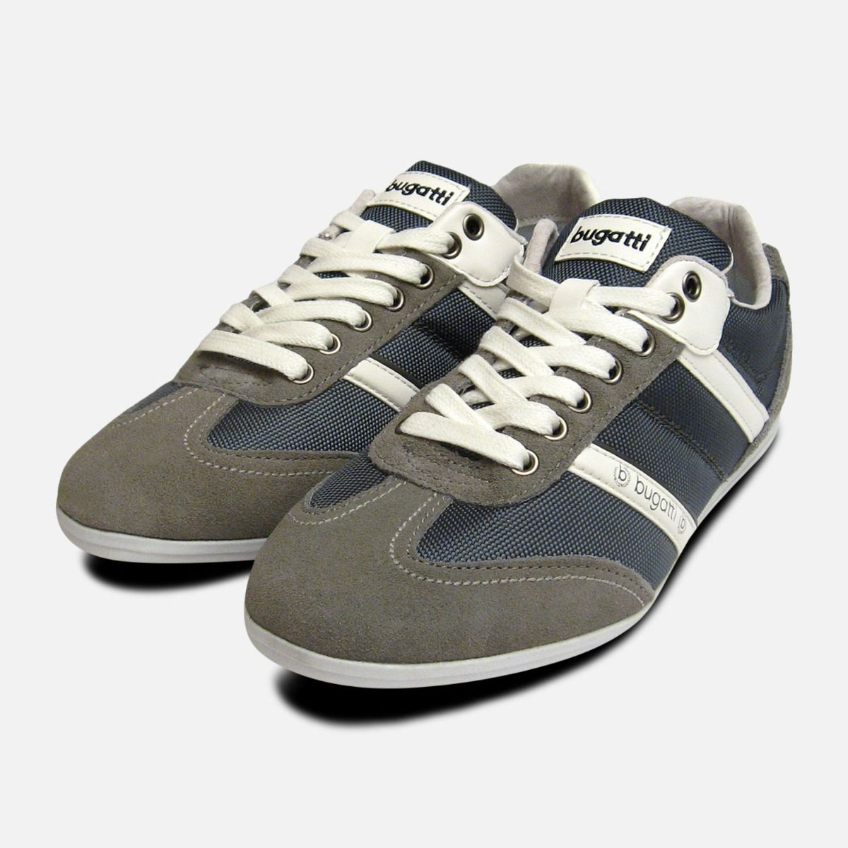 0d52588236597c Mens Bugatti Sneakers in Grey Suede Leather Designer Trainers