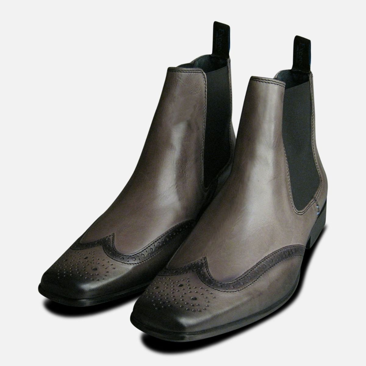 Exceed Grey Leather Mens Chelsea Boots e106bef5d
