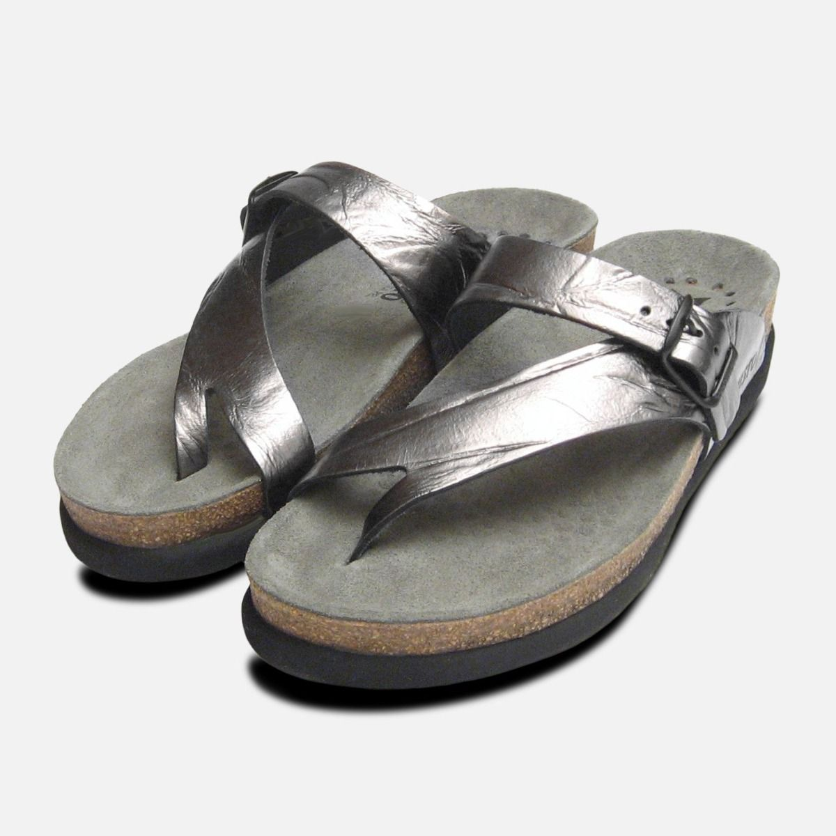 b3be14070 Helen in Creased Silver Metallic Leather Ladies Mephisto Sandals