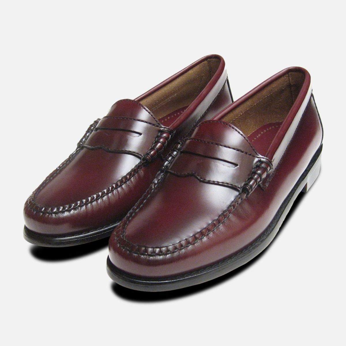 price remains stable shoes for cheap amazon Ladies Burgundy Leather Bass Loafers