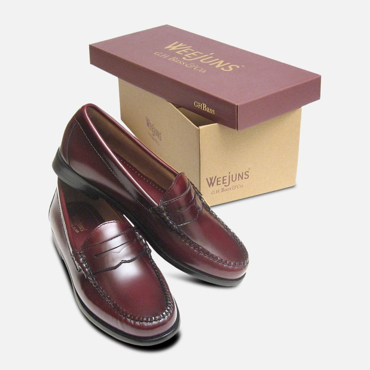 differently good selling shop Ladies Burgundy Leather Bass Loafers