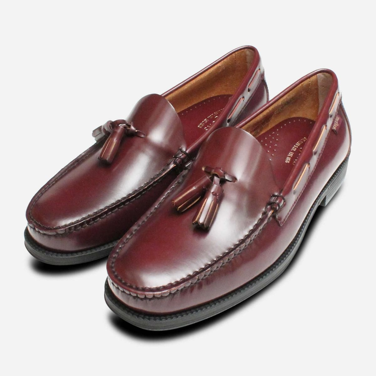 Mens Bass Weejun Tassel Loafer Shoes Larkin in Burgundy 37d288f9d