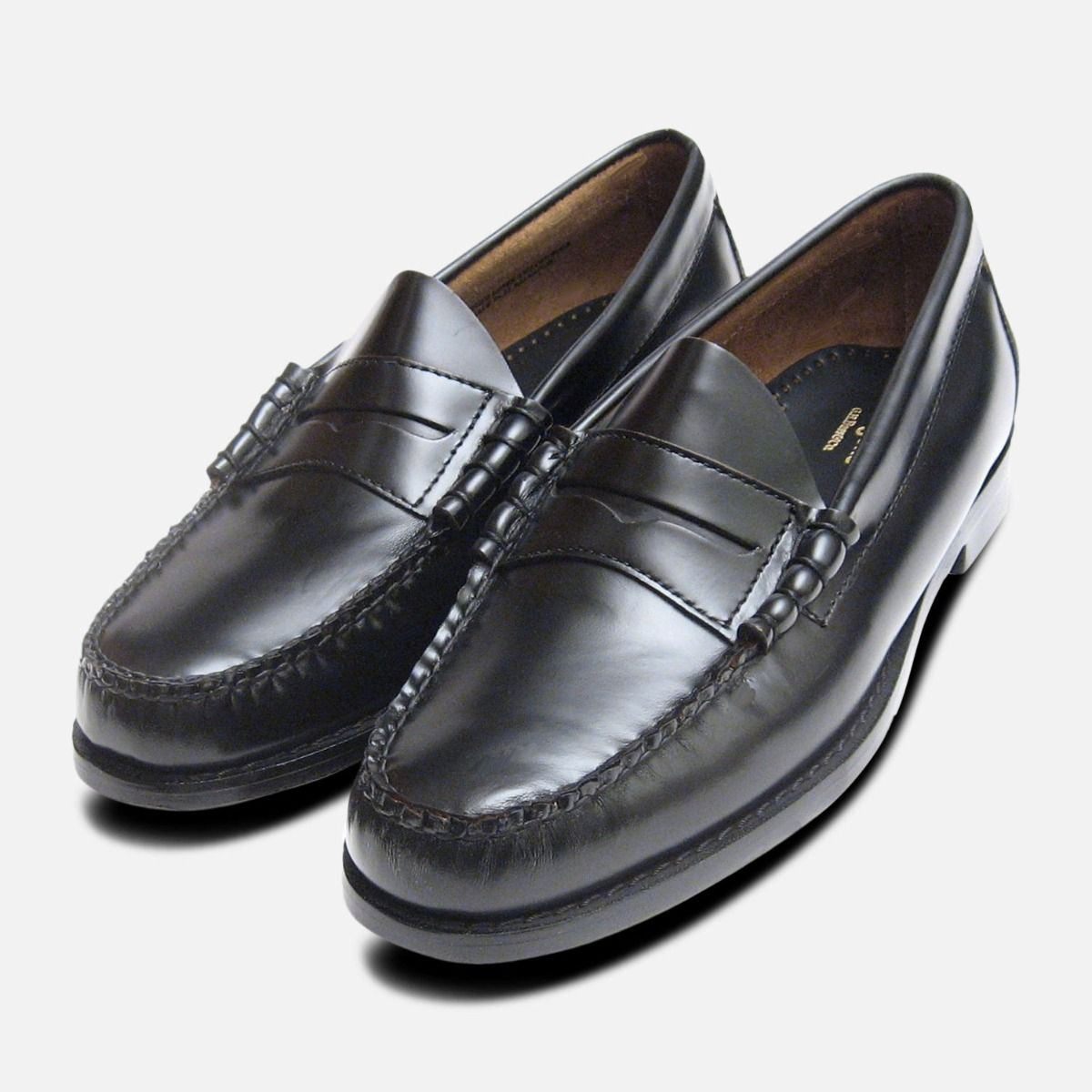 aa13c7f2a4 Classic Mens Black Polished Larson Penny Loafers GH Bass Weejuns