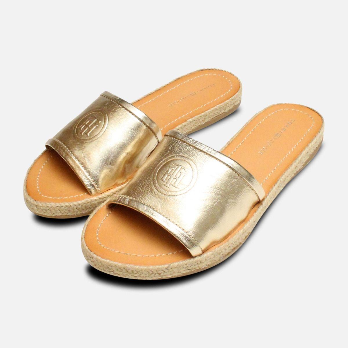 7b19ba5e8 Metallic Gold Leather Tommy Hilfiger Flat Mule Sandal