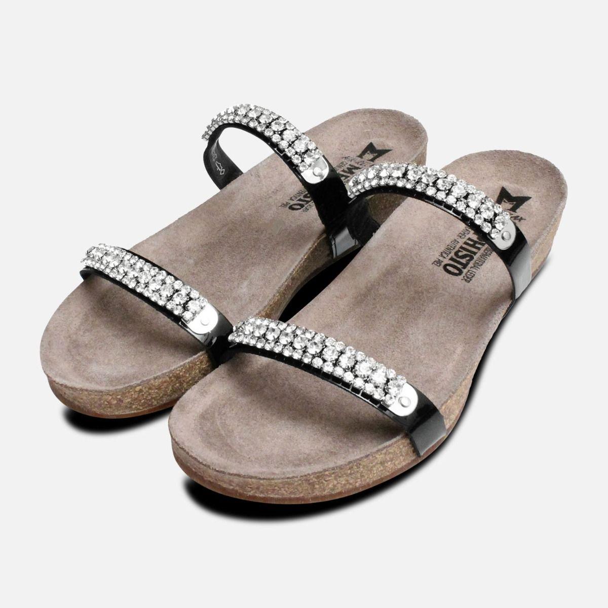 c89c07bee344 Crystal Ivana Black Patent Mephisto Sandals