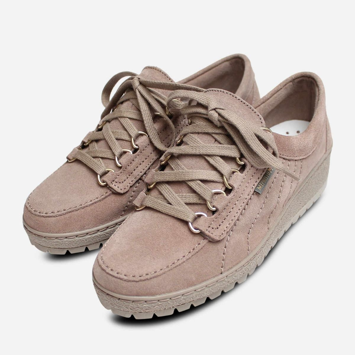 c690a9367662a Mephisto Womens Lady Lace Up Shoes in Light Taupe