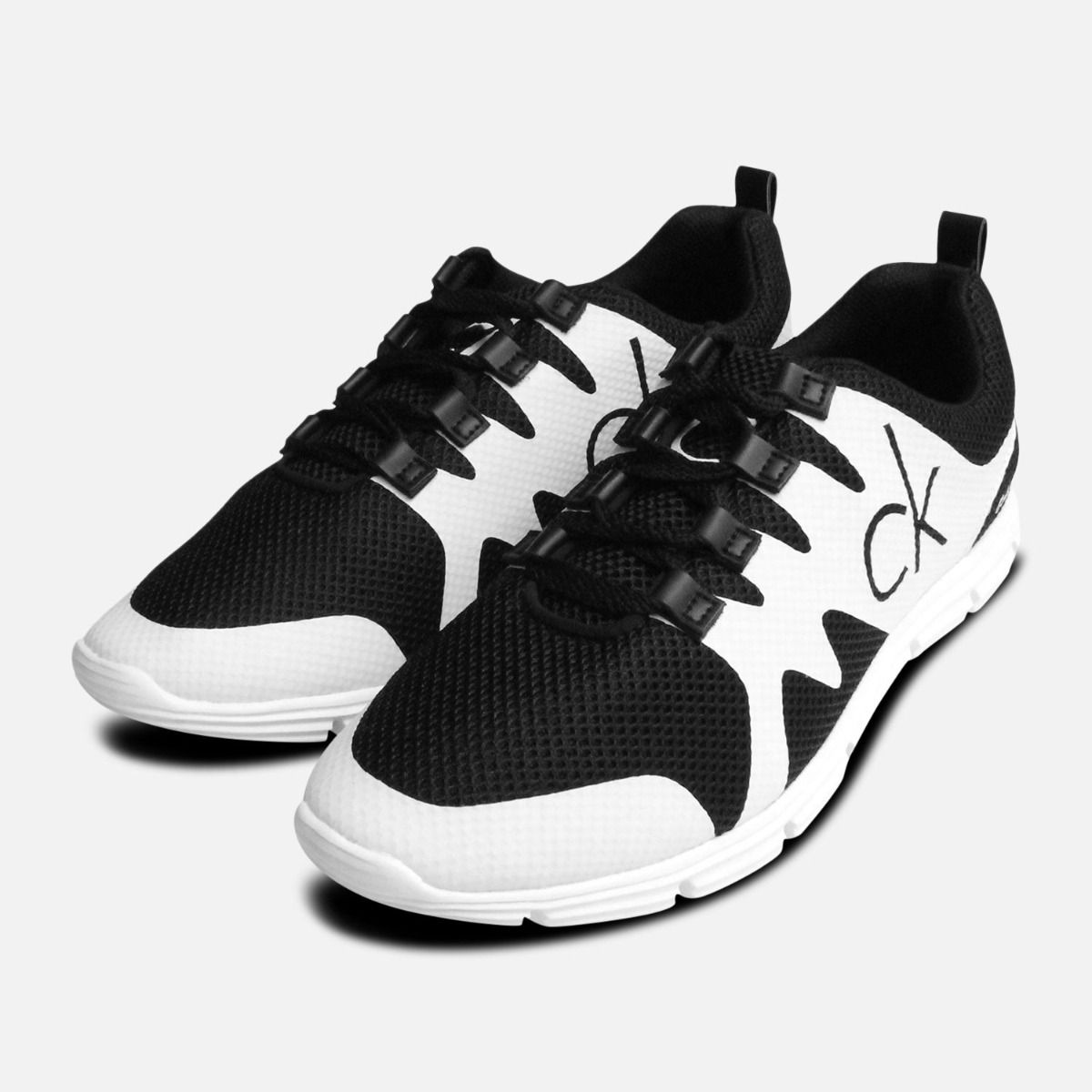 Calvin Klein Mens Murphy Black & White Sneakers Calvin Klein Black And White Sneakers Shoes