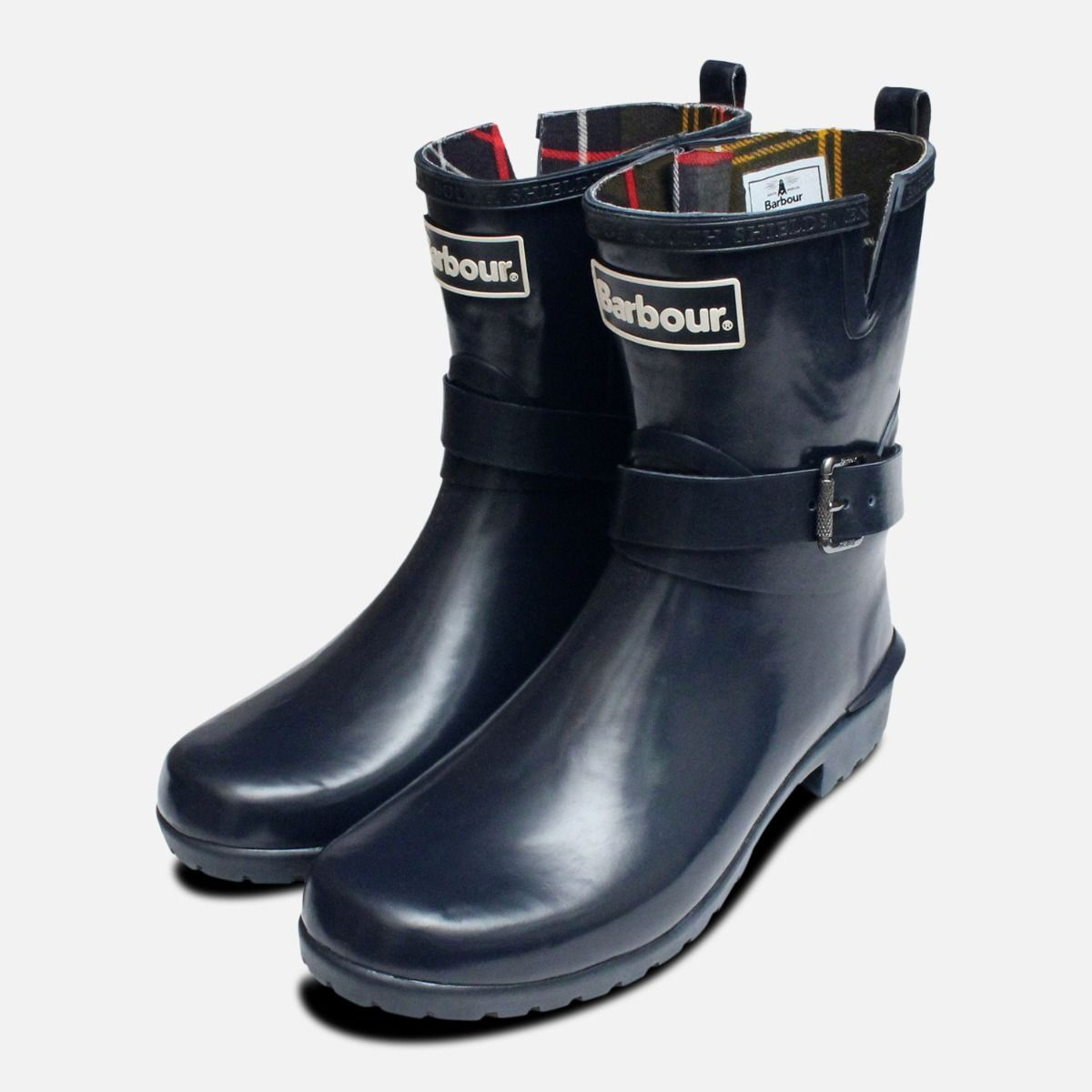 5ff13429e Barbour Biker Buckle Wellington Boots in Navy Blue