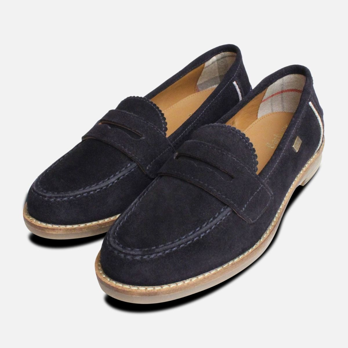 754ae48bf94 Barbour Briony Loafers in Navy Blue Suede