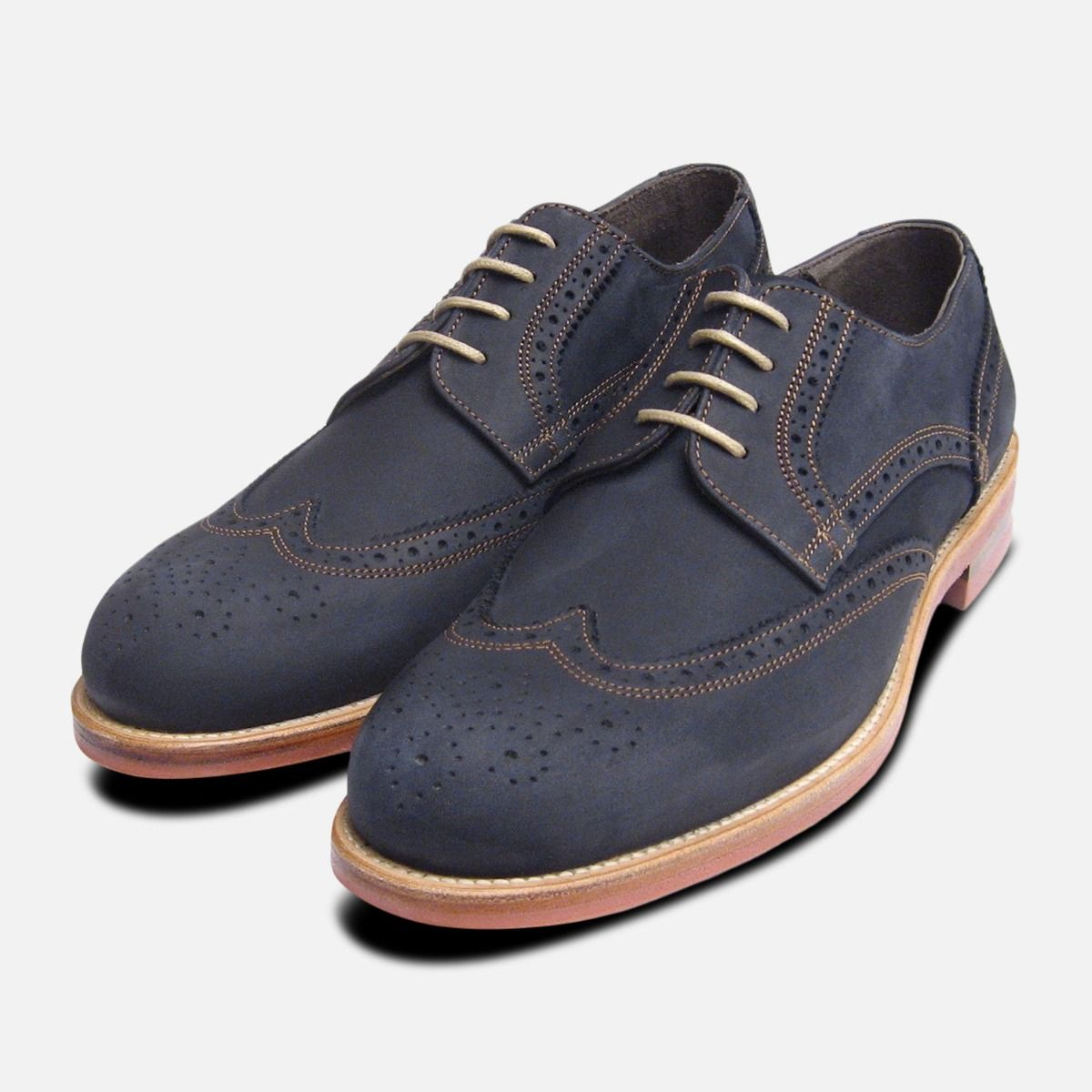 645a5a684ce9 Navy Blue Nubuck Mens Lace Up Brogues by John White Shoes