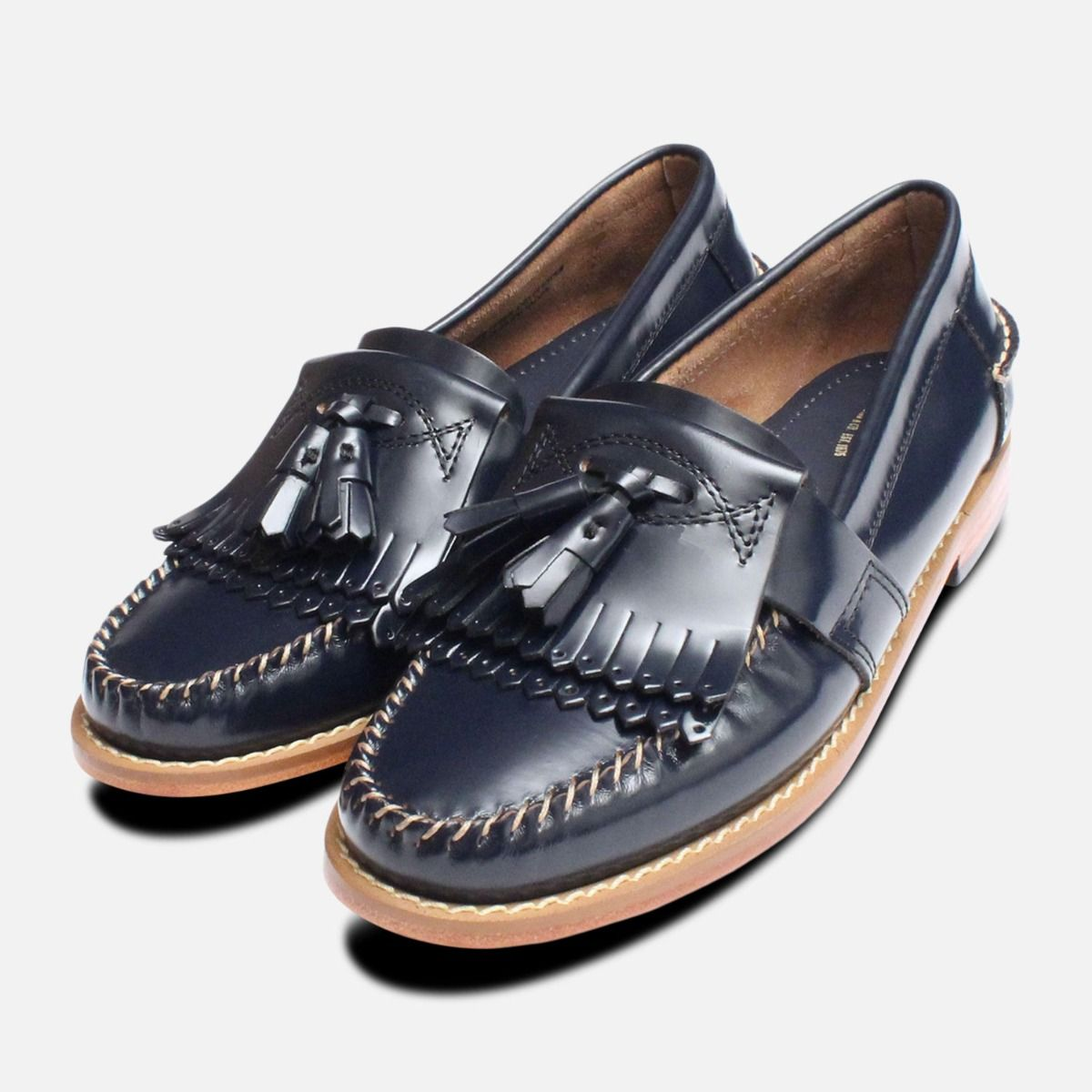 6fbc2038445 Navy Blue Ladies Double Fringe Bass Loafer Shoes