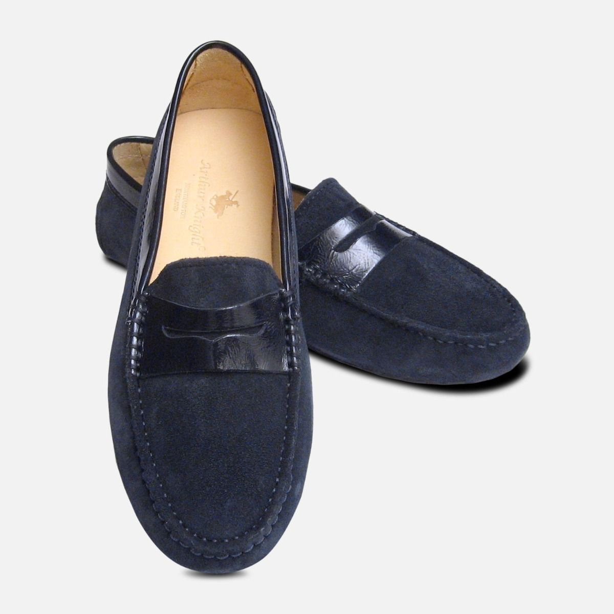 e03384107ca Navy Blue Suede   Patent Arthur Knight Ladies Italian Driving Shoes