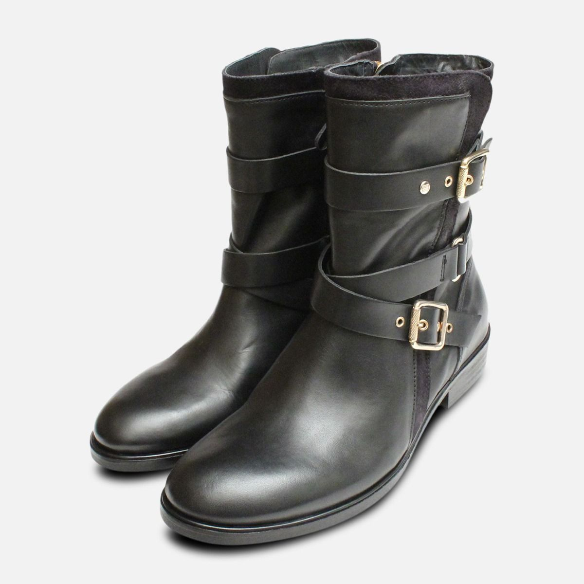 10fe6ae4cc4eb Gold Buckle Tommy Hilfiger Polly Biker Boots in Black