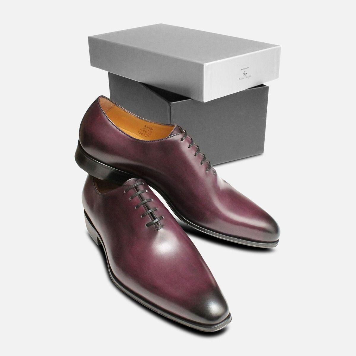 Aubergine Purple Mens Wholecut Oxford Shoes