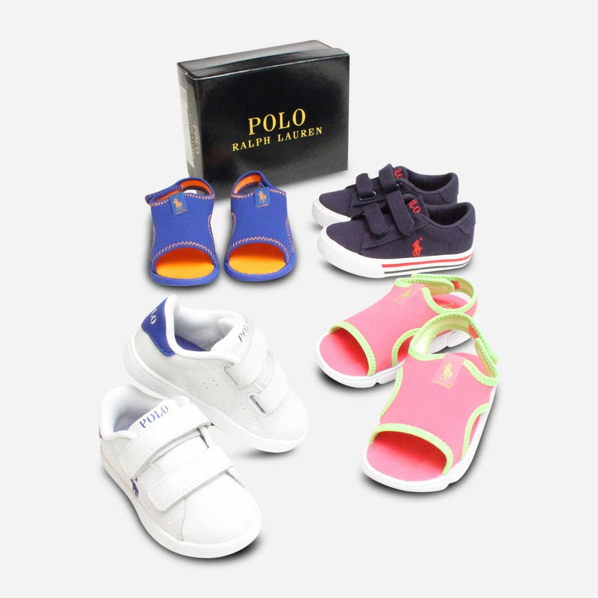 new product in stock genuine shoes Ralph Lauren Polo Neoprene Pink & Lime Kids Shoes