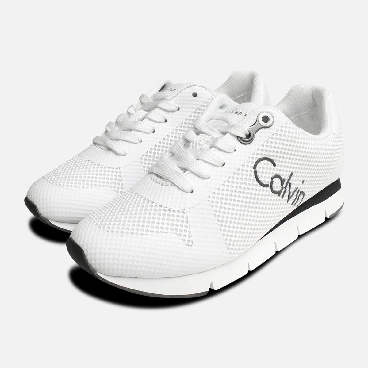 fashion style good texture most popular White Calvin Klein Taline Mesh Trainers for Ladies