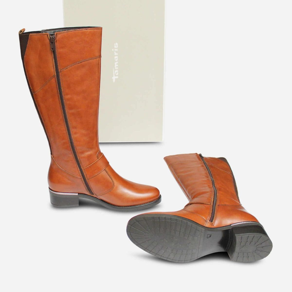 Boots Knee High Zip Antique Brown In Tamaris Leather UqzLMpjVGS