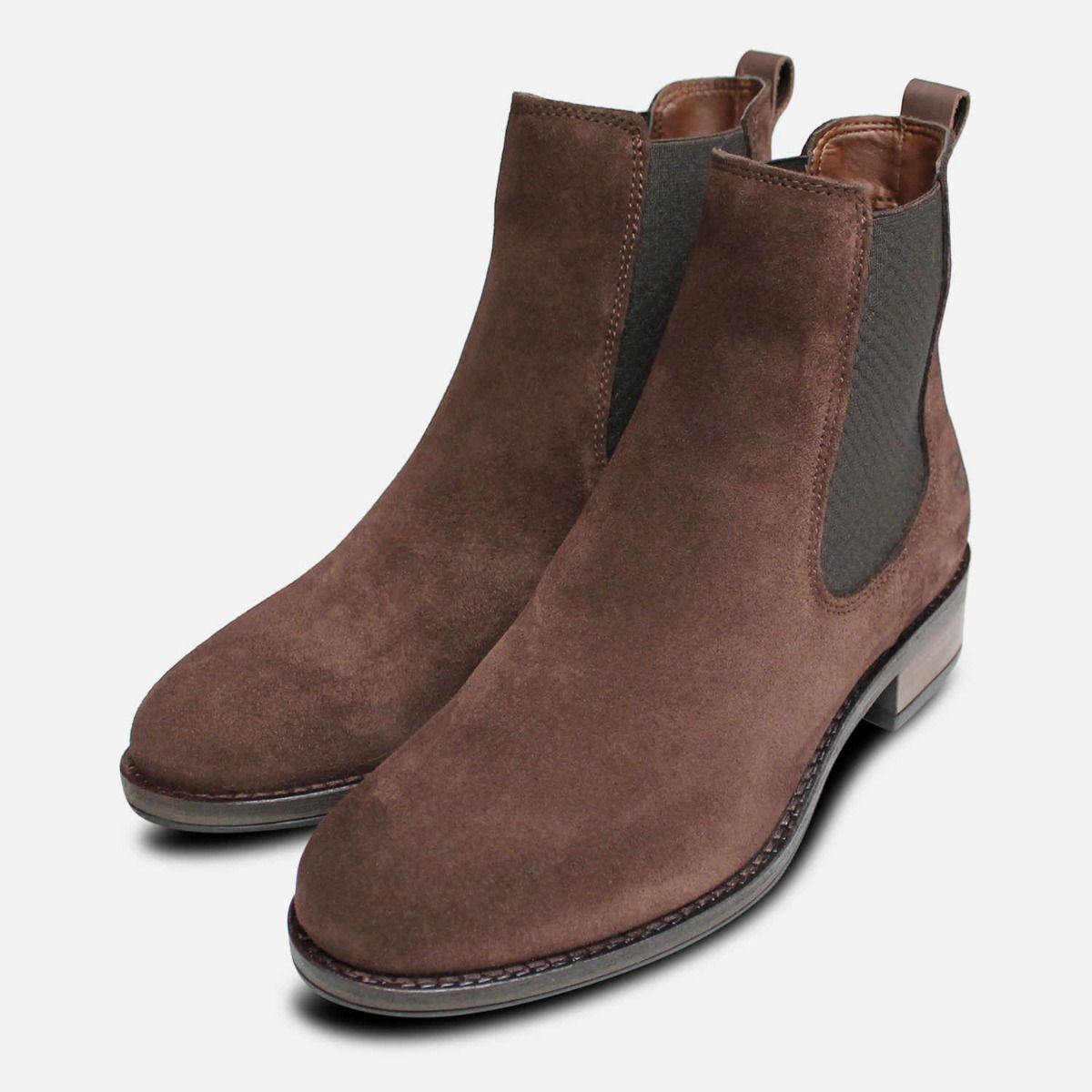 Brown Suede Leather Tamaris Ladies Ankle Chelsea Boots
