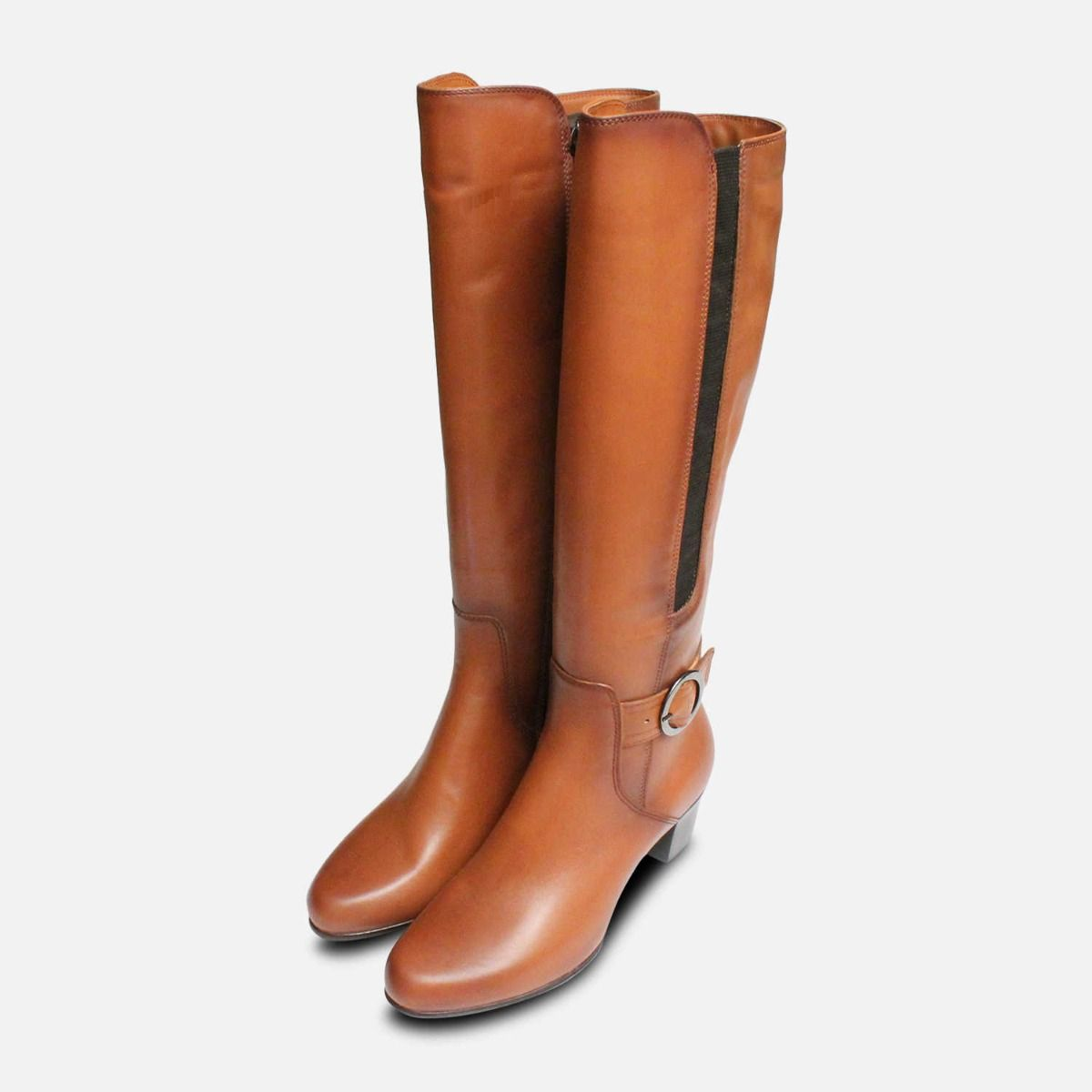 6f104f80222f Tamaris Tan Brown Leather Knee High Boots with Heel