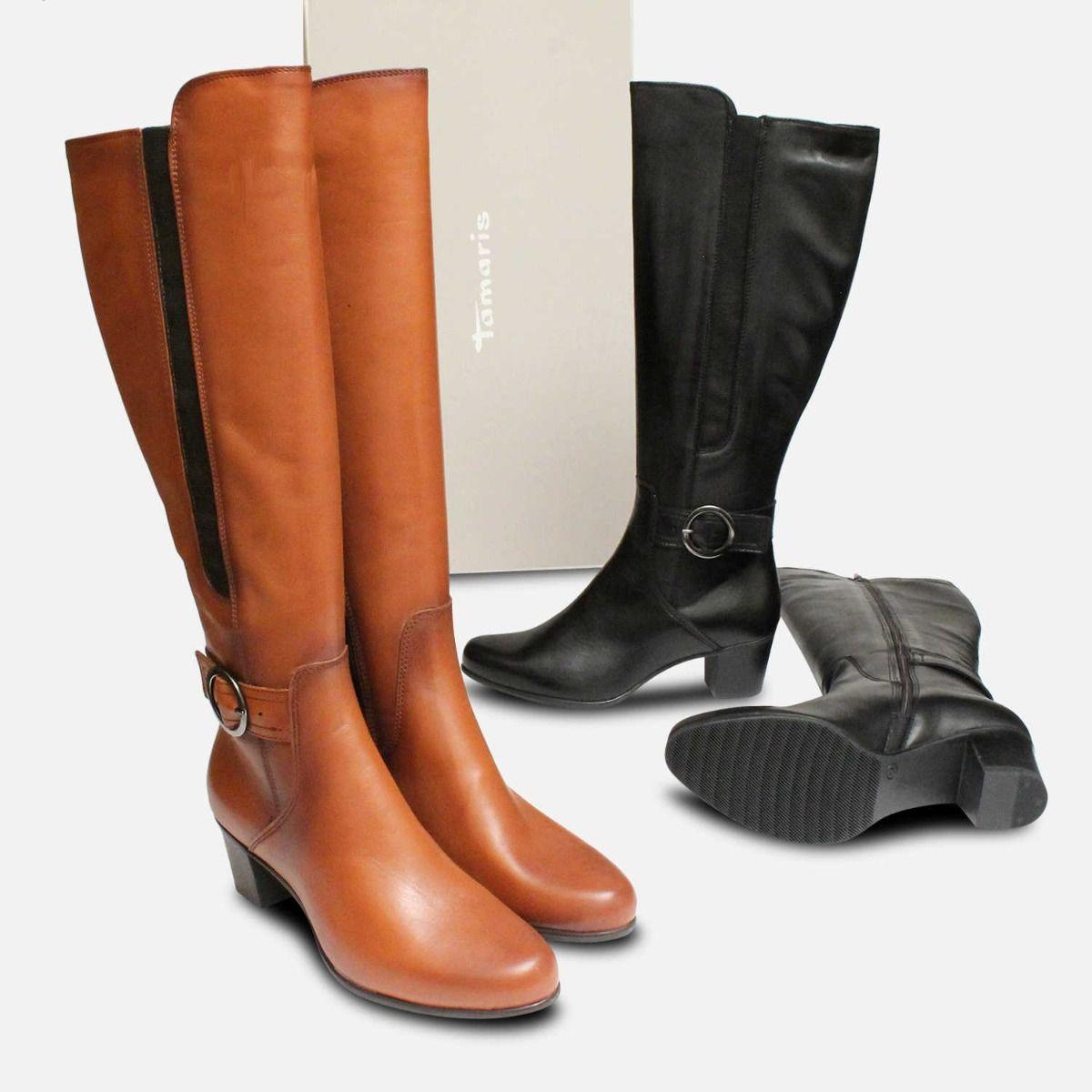 Tamaris Tan Brown Leather Knee High Boots with Heel
