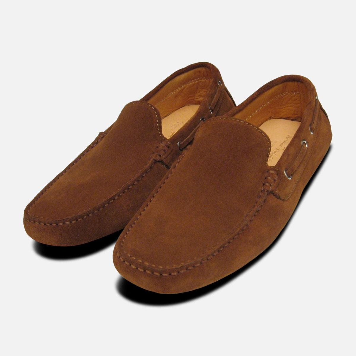 719fedf58190 Mens Driving Shoes Tobacco Suede Moccasins