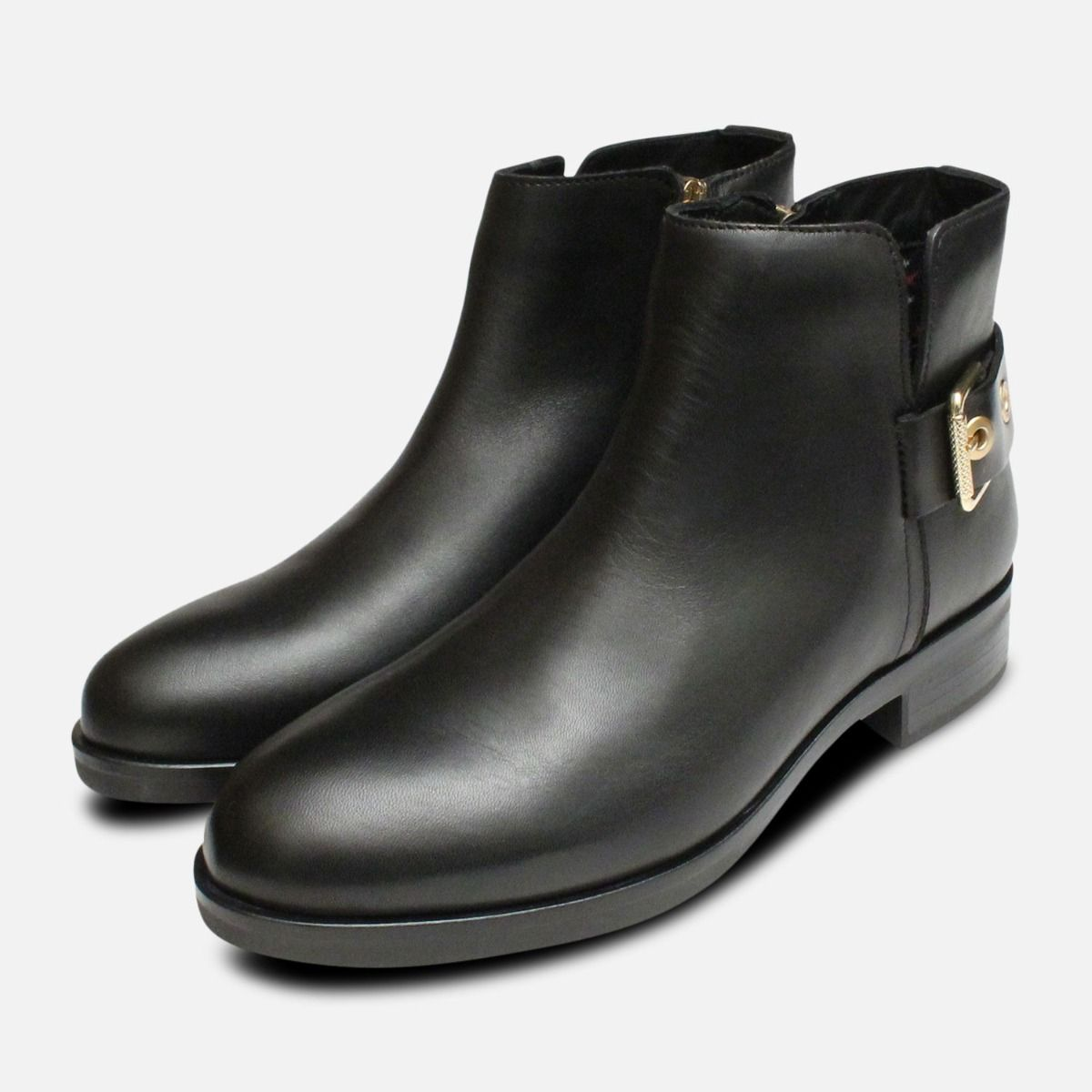 305dcfd2569f3 Tessa Gold Buckle Ankle Boots in Black by Tommy Hilfiger