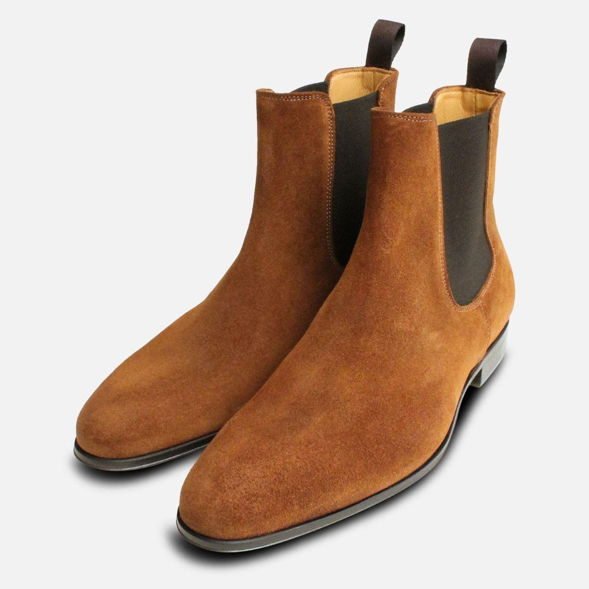 88b0e432cde0 Tobacco Snuff Suede Mens Italian Chelsea Boots