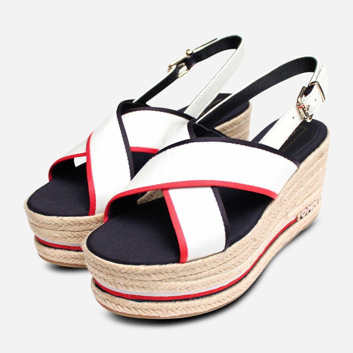 fc55ae4df6 Tommy Hilfiger Designer Flatform Sandals in Red White & Blue