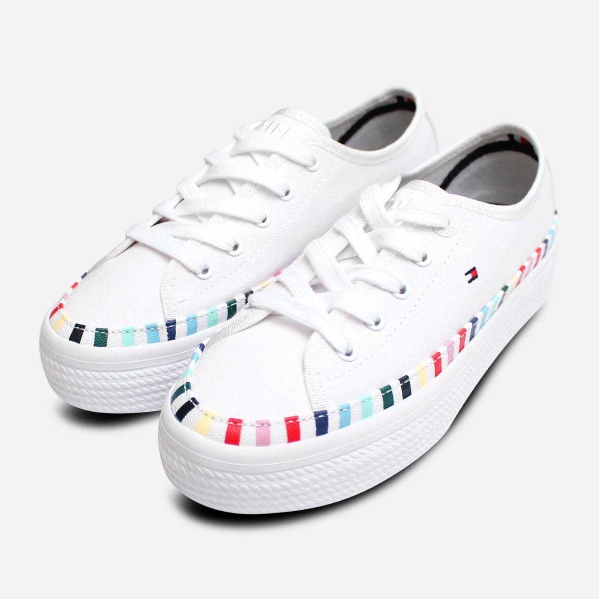 b1f0d993 Tommy Hilfiger Womens Flatform White Rainbow Sneakers