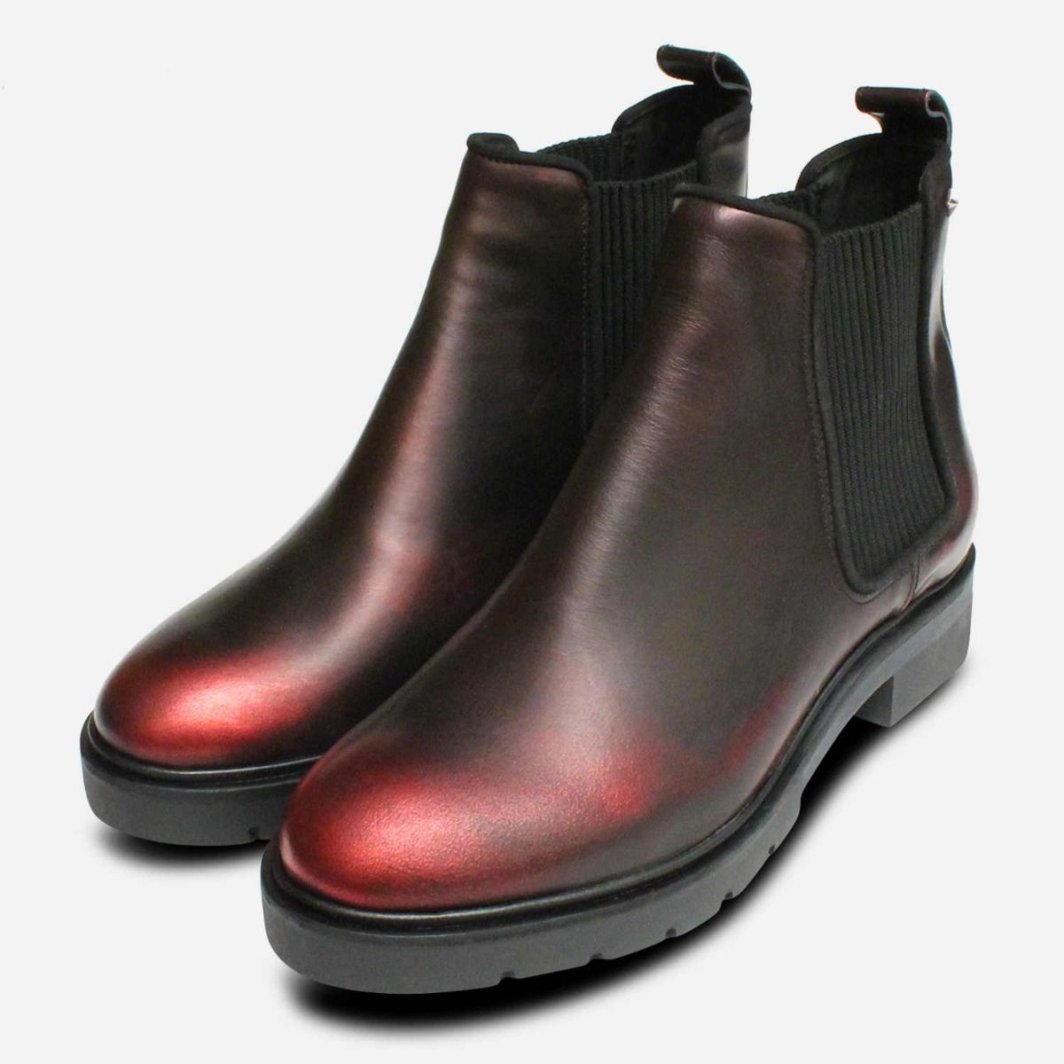 5d987285abbbed Dark Metallic Red Leather Tommy Hilfiger Chelsea Boots