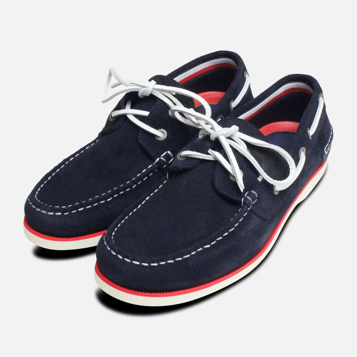 3910aa6bb Tommy Hilfiger Navy Blue Suede Mens Boat Shoes