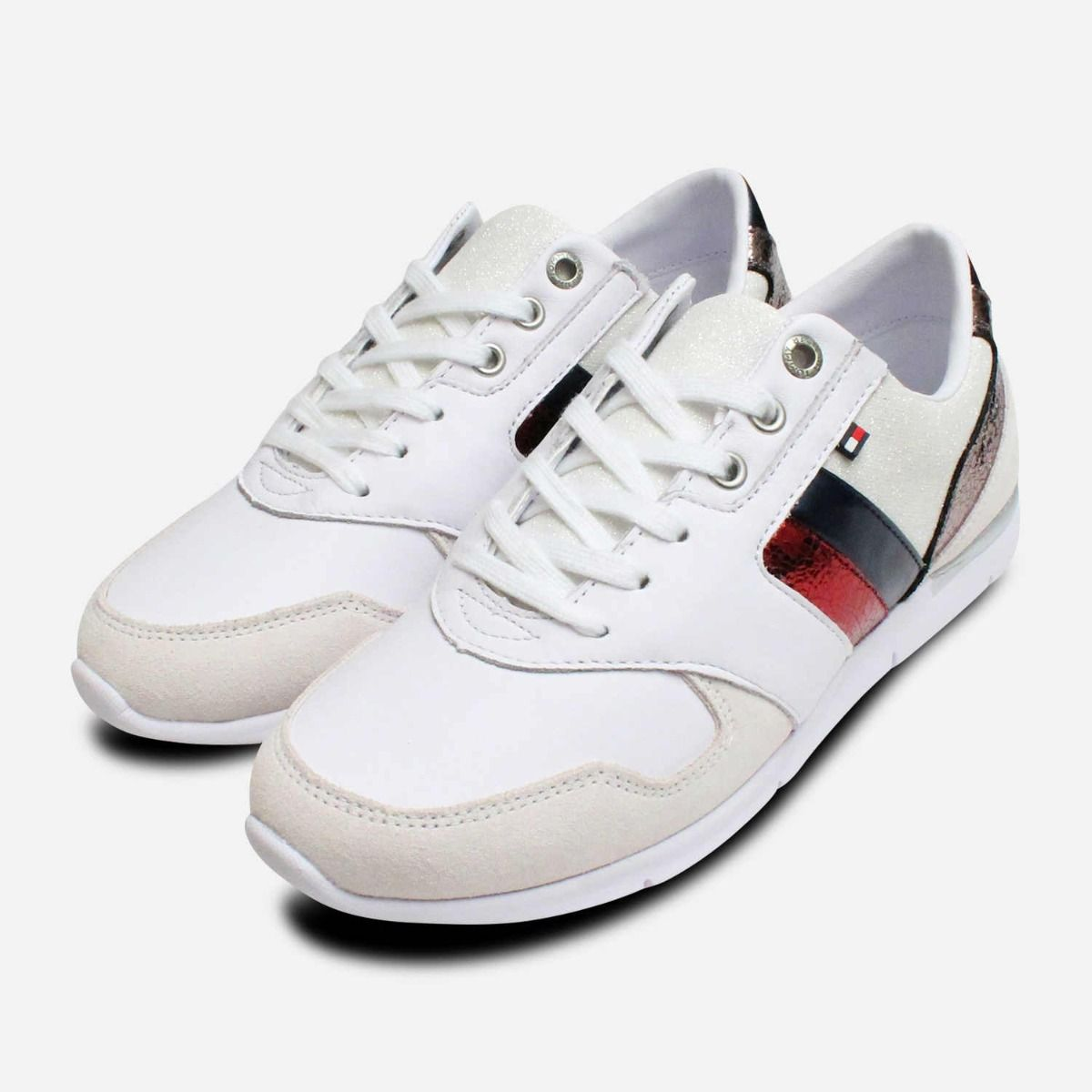 ed59b6ce9 White Leather Tommy Hilfiger Lightweight Ladies Trainers