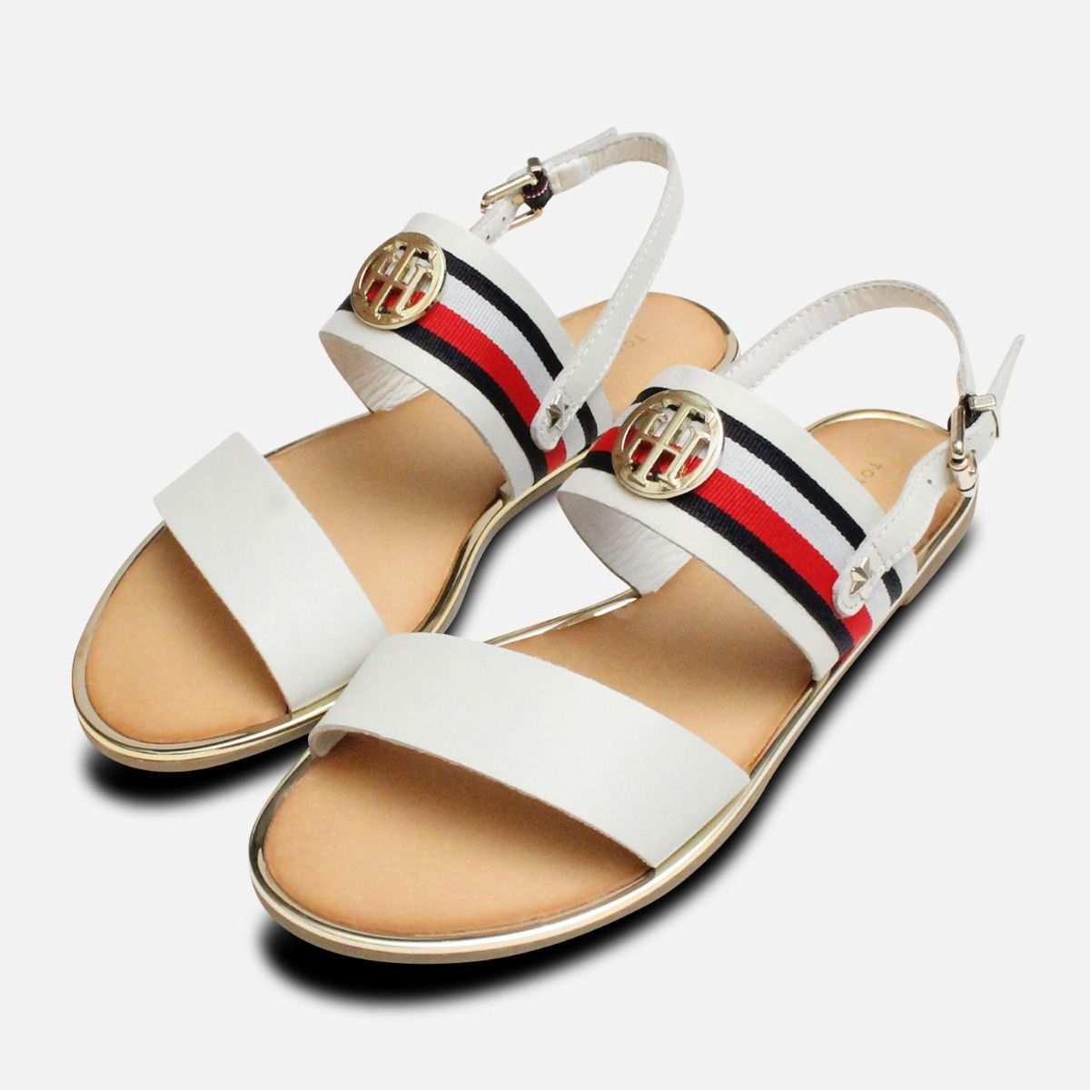 3542a6005 Tommy Hilfiger RWB White Summer Sandals with Gold Trim