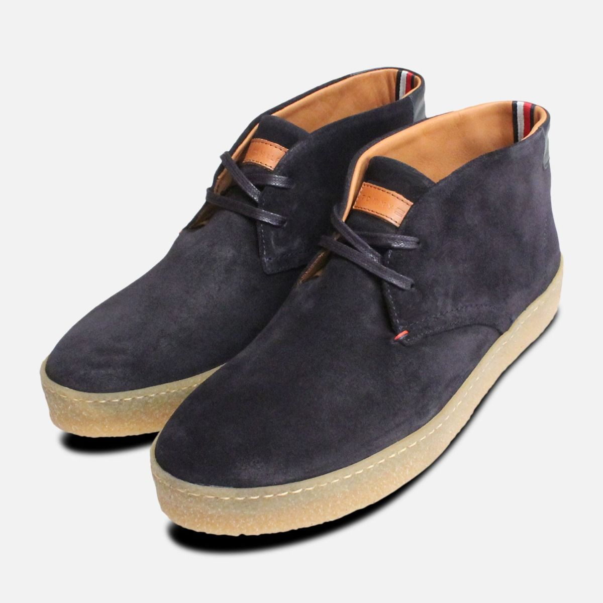 wide varieties factory authentic new design Navy Blue Suede Tommy Hilfiger Cupsole Crepe Boots