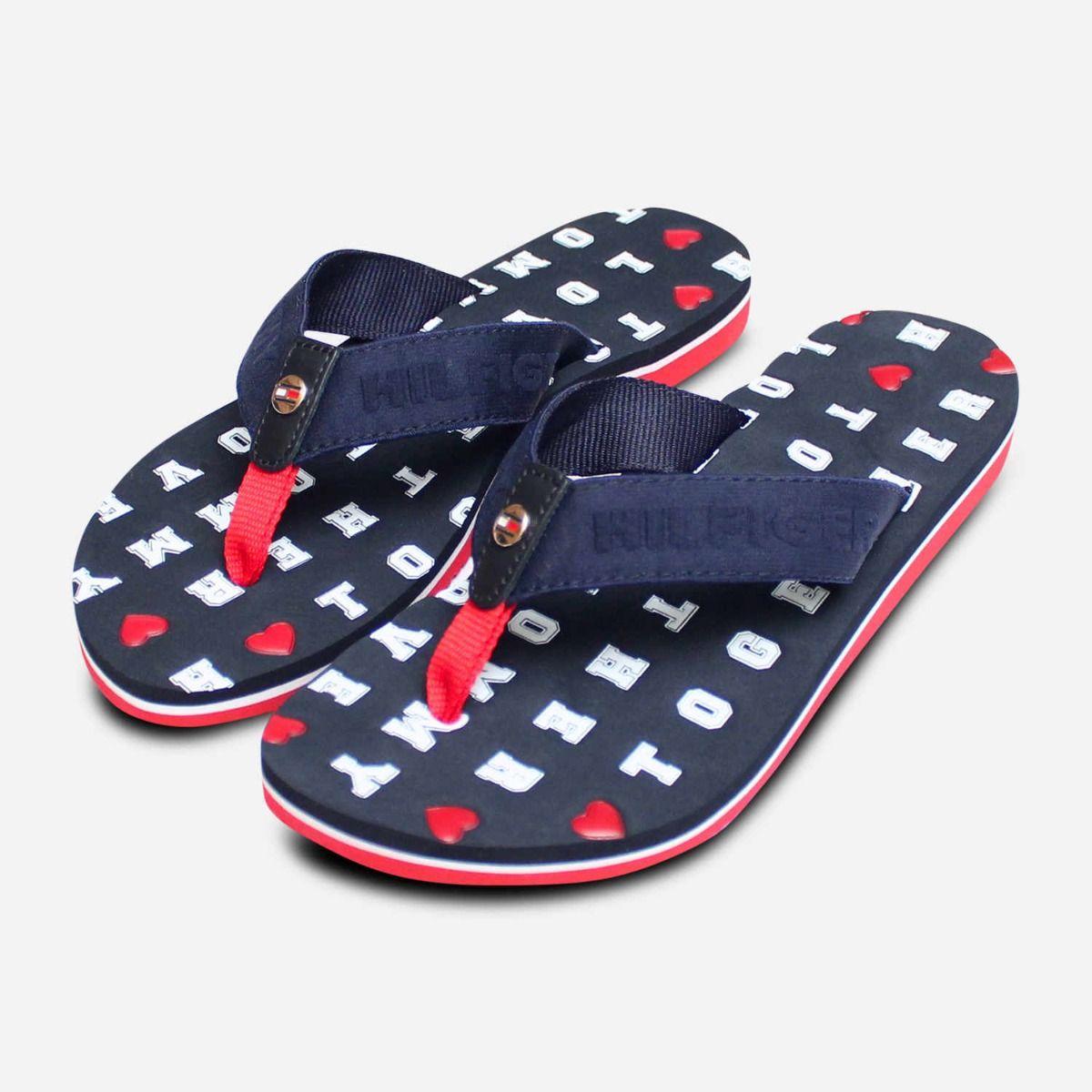 1a13fb5b3647 Tommy Hilfiger Navy Blue   Red Embossed Flip Flop Sandals